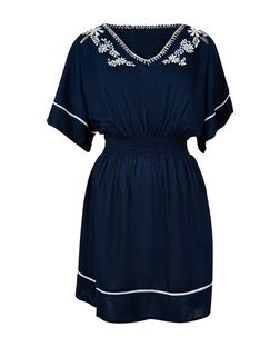 Apricot Navy Embroidered Kaftan Dress | New Look