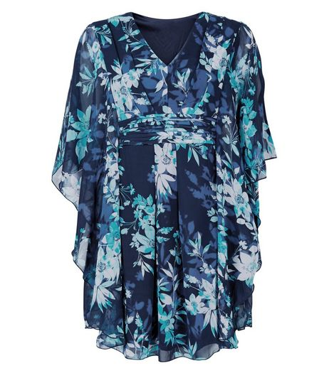 Apricot Blue Floral Print Pleated Kaftan  | New Look