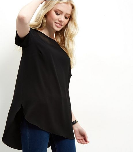 Tall Black Longline T-Shirt | New Look