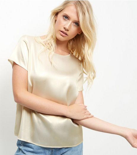 Tall Cream Sateen T-Shirt  | New Look