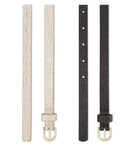 2 Pack Gold And Black Skinny Glitter Belts | New Look