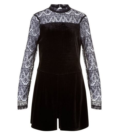 Teens Black Velvet And Lace Playsuit | New Look