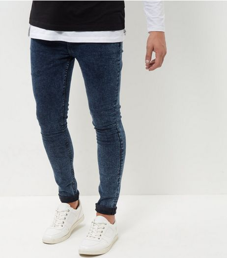 Navy Acid Wash Super Skinny Jeans | New Look