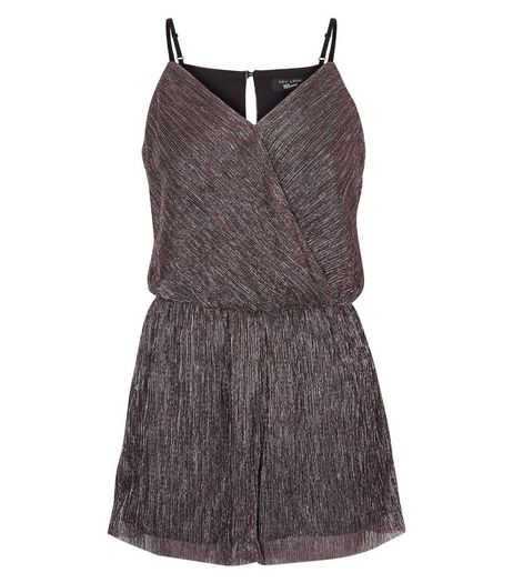 Teens Pink Metallic Pleated Wrap Front Playsuit | New Look