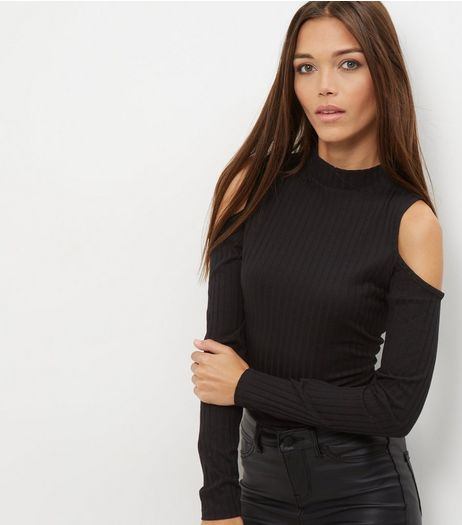 Black Funnel Neck Cold Shoulder Jumper  | New Look