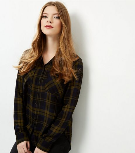 Green Check Long Sleeve Shirt  | New Look
