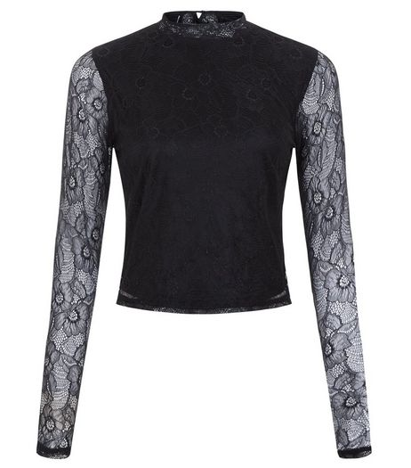 Teens Black Lace Funnel Neck Top | New Look