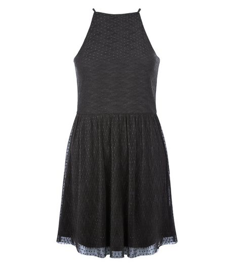 Black Dot Mesh High Neck Skater | New Look