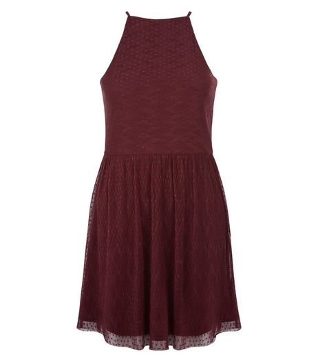 Teens Burgundy High Neck Dot Tulle Skater Dress  | New Look