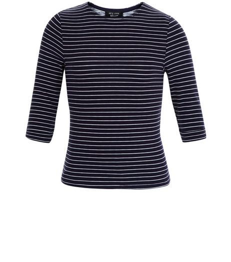 Girls Blue Stripe 3/4 Sleeve Top | New Look