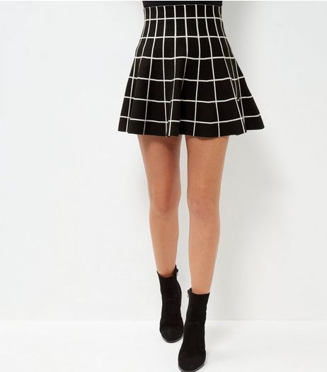Black Grid Print Skirt  | New Look