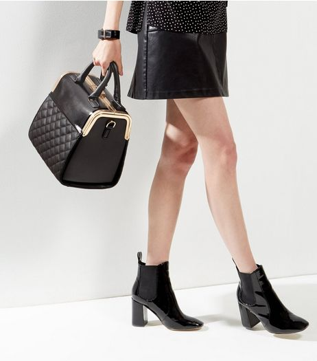 Black Quilted Box Tote | New Look