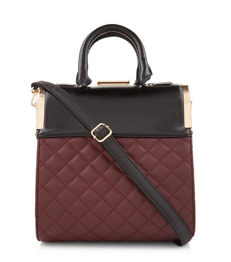 Burgundy Quilted Box Tote Bag | New Look