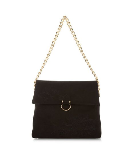 Black Embroidered Chain Shoulder Bag | New Look