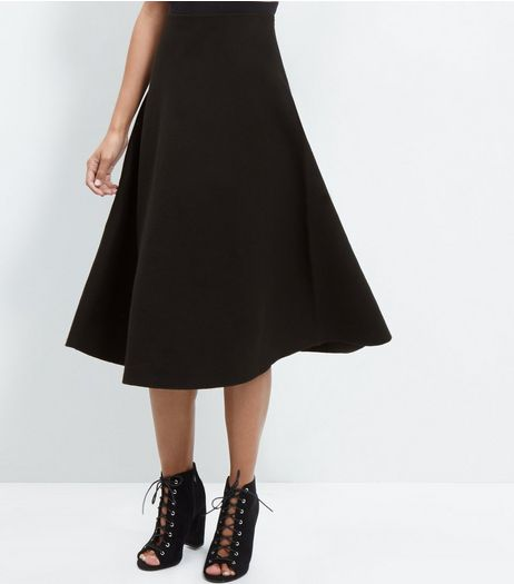 Black High Waisted Flare Midi Skirt | New Look