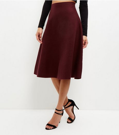 Burgundy High Waisted Flare Midi Skirt | New Look