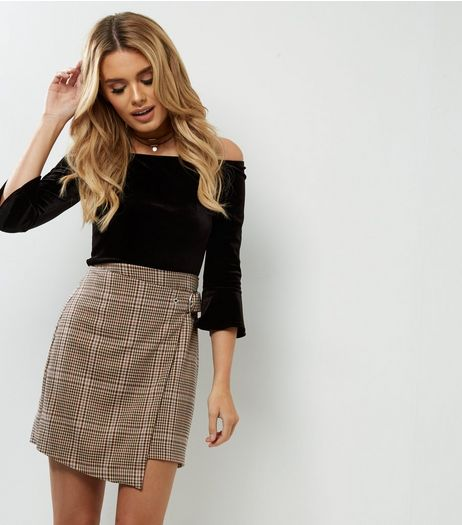 Brown Check Wrap Front Skirt  | New Look