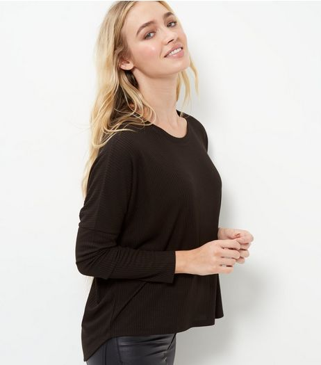 Black Ribbed Long Sleeve T-Shirt  | New Look