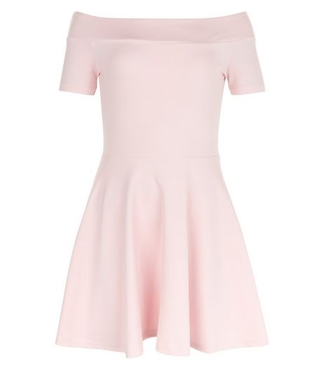 Girls Mid Pink Bardot Neck Skater Dress | New Look