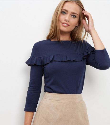 Navy Frill Trim 3/4 Sleeve Top  | New Look