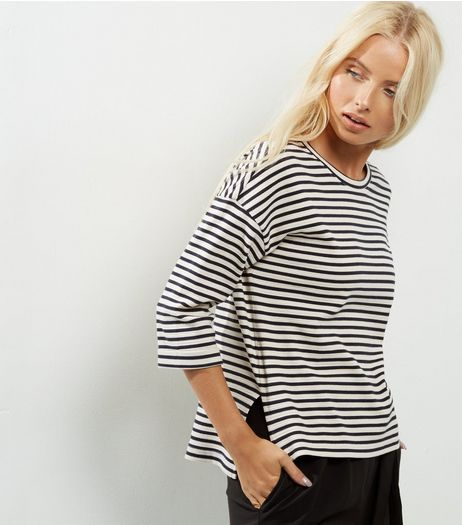 Black Stripe Print 3/4 Sleeve Top | New Look