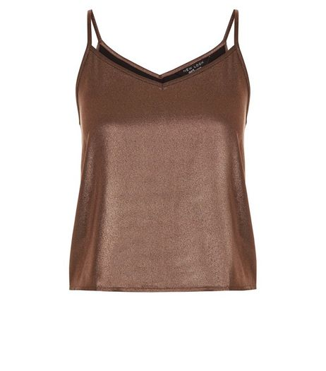 Teens Bronze V Neck Shimmer Cami | New Look