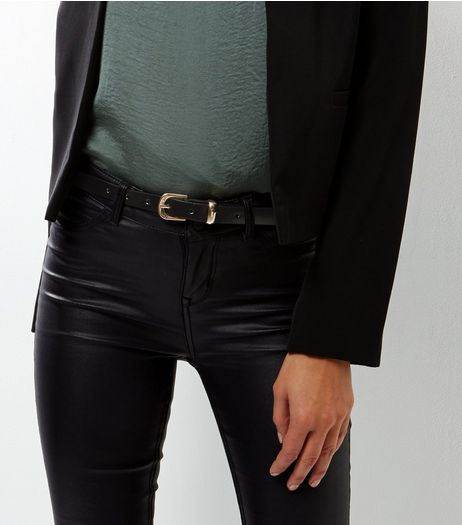 Black Leather Skinny Belt  | New Look