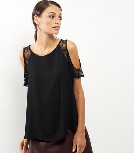 Black Lace Trim Cold Shoulder Shell Top | New Look