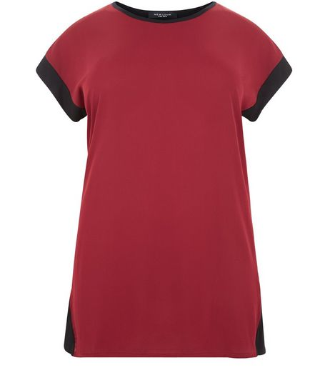 Curves Burgundy Contrast T-Shirt | New Look