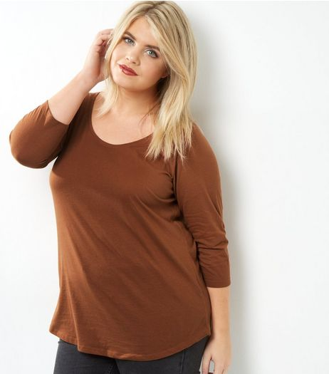 Curves Brown 3/4 Sleeve Scoop Neck Top | New Look