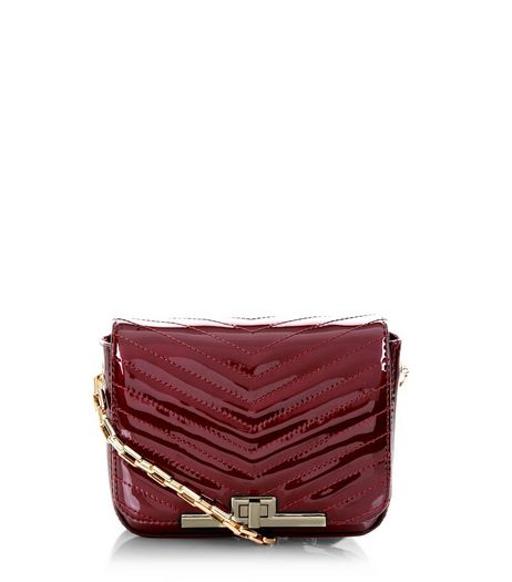 Burgundy Patent Quilted Chain Shoulder Bag | New Look