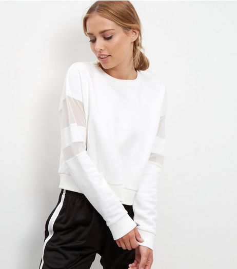 Cream Mesh Panel Sweater | New Look