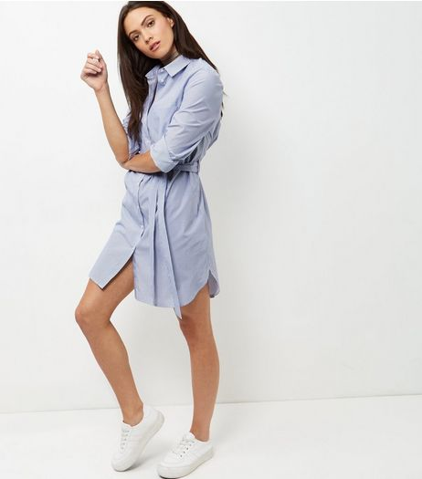 White Stripe Belted Shirt Dress  | New Look