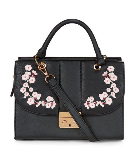 Black Embroidered Shoulder Bag | New Look