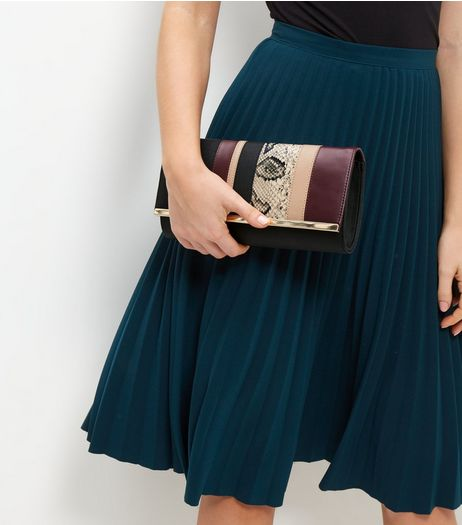 Burgundy Animal Print Panelled Clutch | New Look