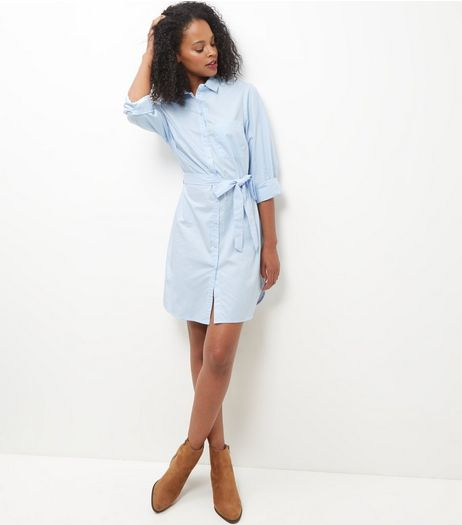 Pale Blue Tie Waist Shirt Dress | New Look