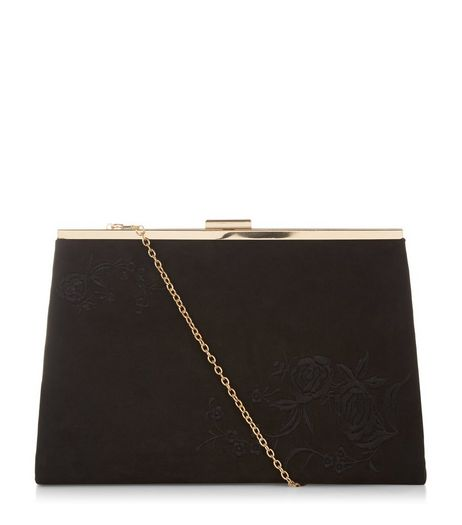 Black Embroidered Floral Print Clutch | New Look
