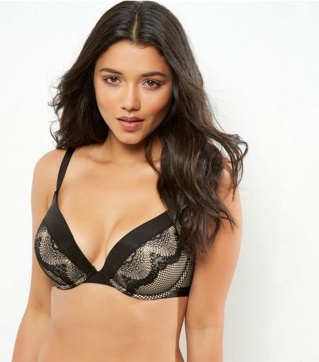 Black DD+ Fishnet Lace Push Up Bra | New Look