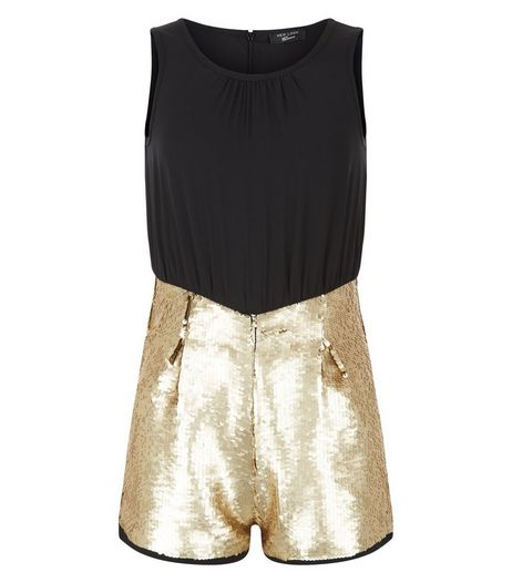 Girls Gold Colour Block Sequin Playsuit | New Look