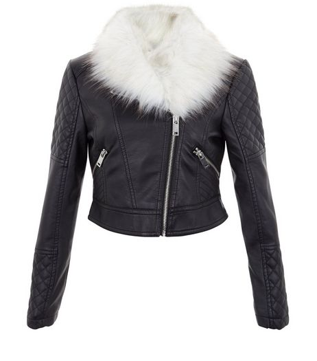 Girls Black Faux Fur Trim Quilted Leather Look Jacket | New Look