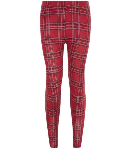 Girls Red Check Leggings | New Look
