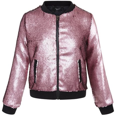 Girls Pink Sequin Bomber Jacket | New Look