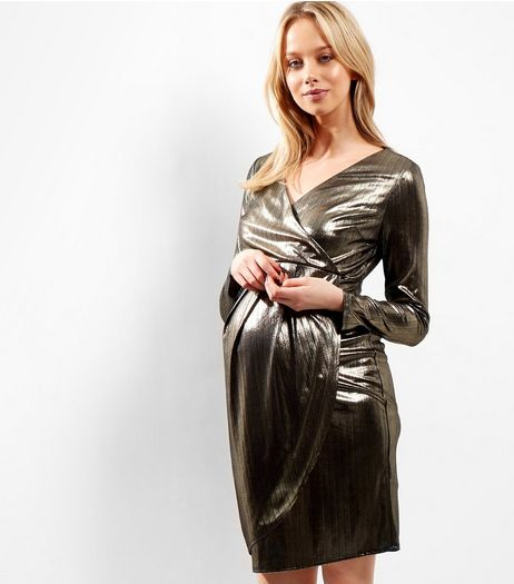 Maternity Gold Metallic Wrap Front Dress | New Look