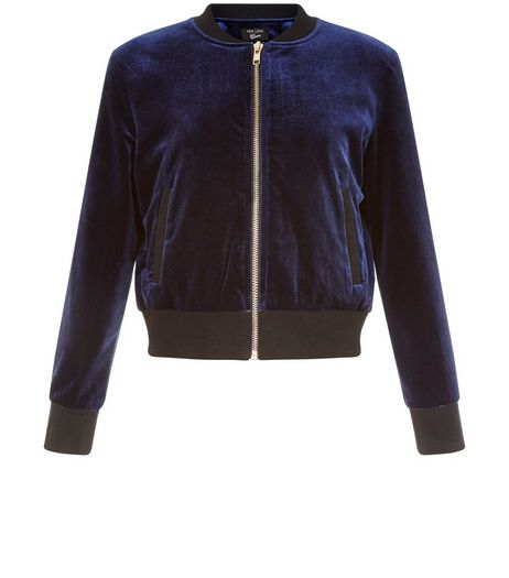 Girls Navy Velvet Bomber Jacket | New Look