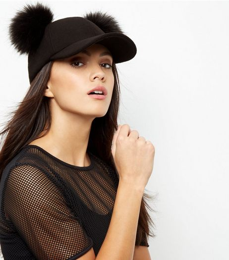 Black Double Faux Fur Pom Pom Cap | New Look