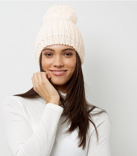 Cream Foil Pom Pom Bobble Hat | New Look