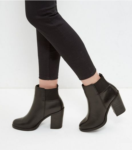 Black Leather Block Heel Chelsea Boot | New Look