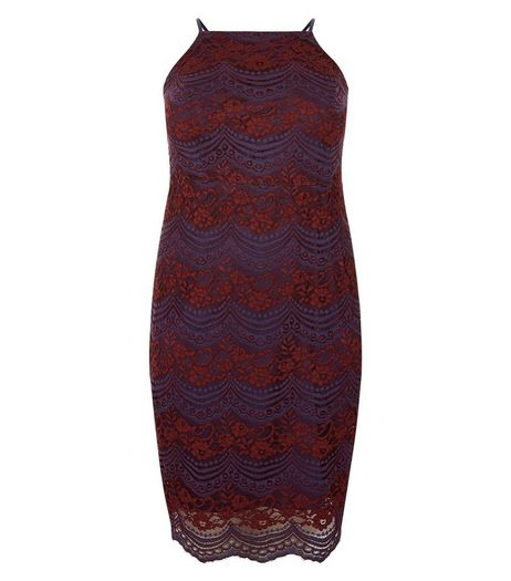 Curves Red Contrast Lace High Neck Bodycon Dress | New Look