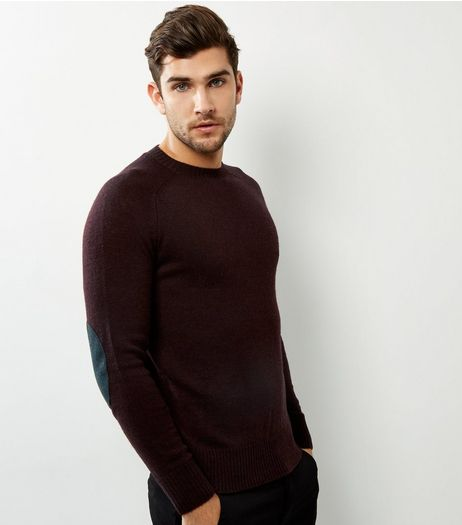 Burgundy Wool Mix Elbow Patch Jumper | New Look