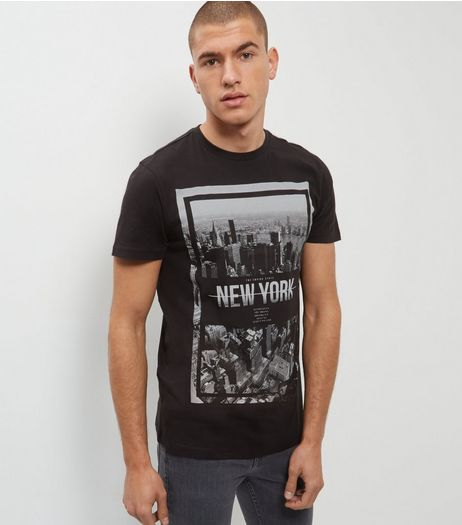 Mens black t shirts vests tops new look for New york printed t shirts